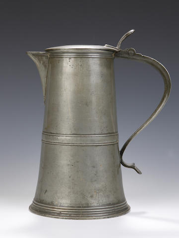 A late 18th century pewter flagon By William Hunter of Edinburgh,