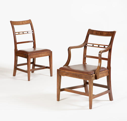 A set of ten early 19th century mahogany and inlaid dining chairs