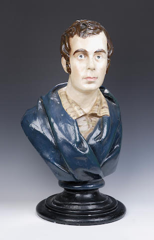 A late 19th or early 20th century plaster cast of Robert Burns