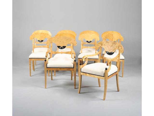 A set of ten 20th century biedermeier style satinbirch dining chairs by A.B Nordiska