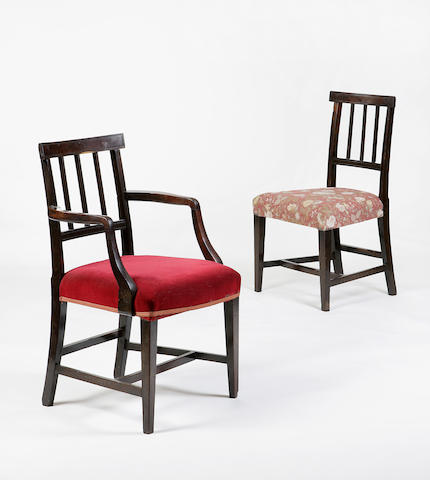 A set of five early 19th century Laburnum brander back dining chairs