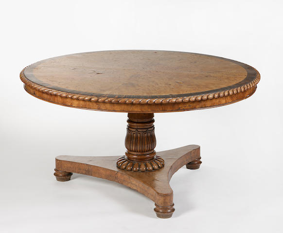 A burr elm and coromandel centre table circa 1820