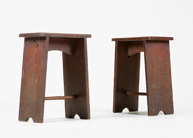 A pair of early 20th century oak stools Attributed to Charles Rennie Mackintosh