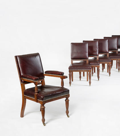 A set of ten late 19th/early 20th century walnut and leather upholstered dining chairs.