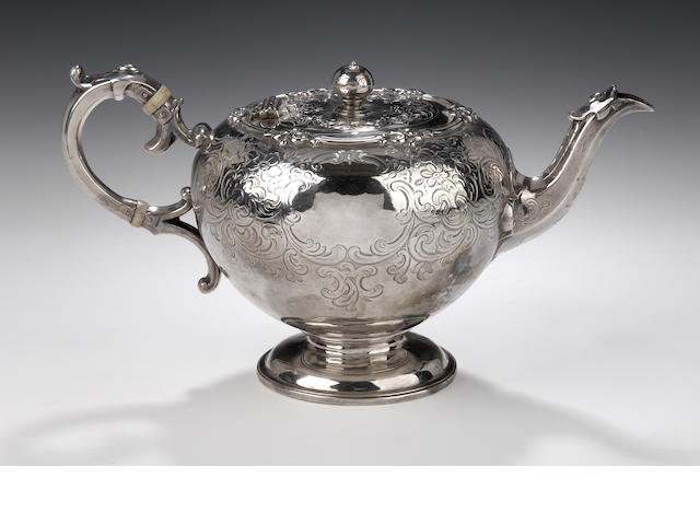 A Victorian silver Teapot  by John Mackay of Edinburgh 1854,