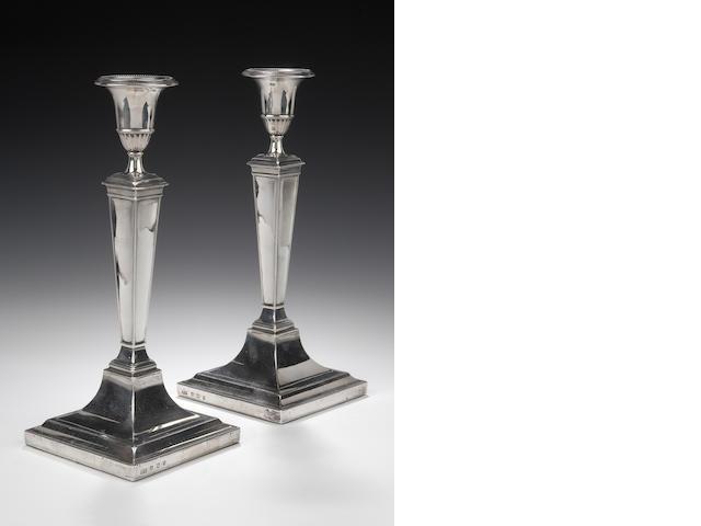 A pair of silver Candlesticks  by Hamilton & Inches, Edinburgh 1918,