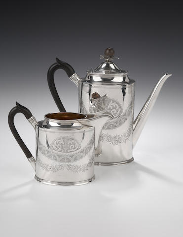 A late Victorian Coffee Pot and Cream Jug, by R&W Sorley, Glasgow 1899,
