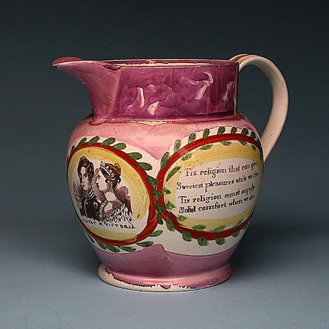 Victoria and Albert, a Sutherland lustre jug circa 1839,