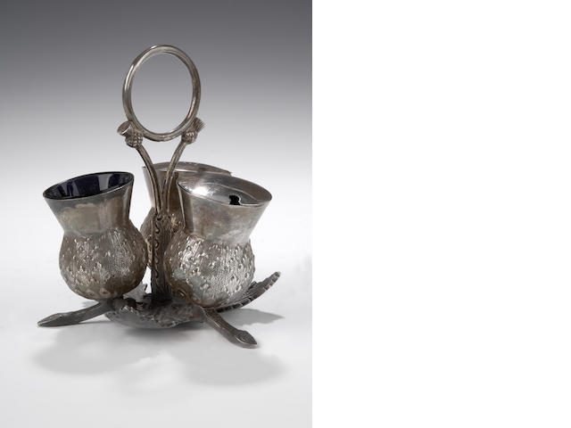 A silver thistle Condiment Set By Hamilton & Inches, Edinburgh 1837,
