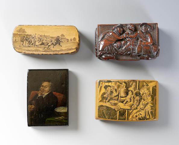 A 19th century Mauchline penwork snuff box,