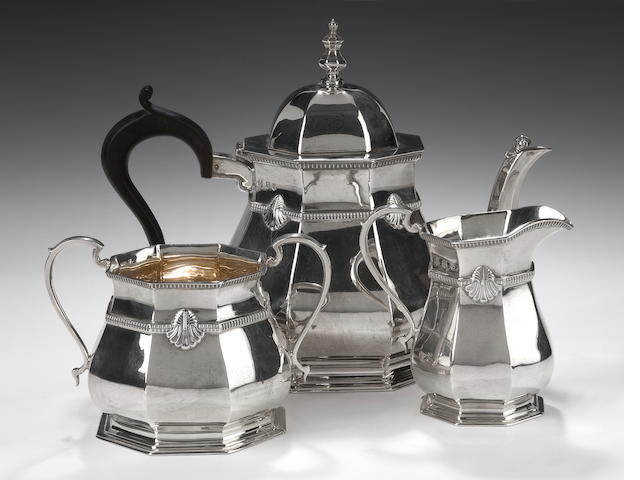 A silver three piece tea service By R.S, Edinburgh 1933,
