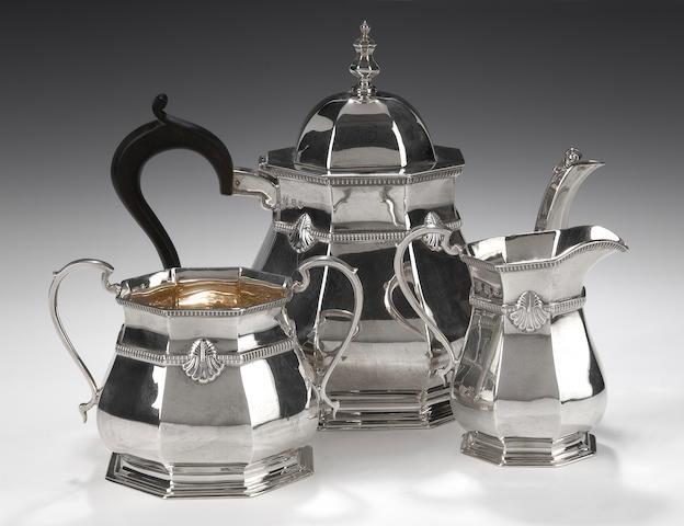 A silver three piece tea service By R.S, Edinburgh 1933,