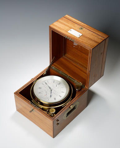 An early 20th century mahogany cased marine chronometer by Dobbie McInnes Ltd No.9673