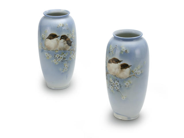 Flambe Wares A pair of Doulton Titanian vases by Harry Allen, circa 1915