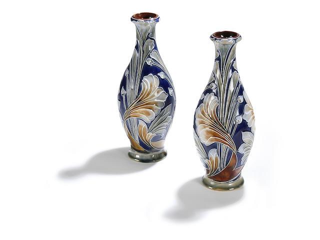 Lambeth A pair of Doulton Lambeth vases by Mark V. Marshall, circa 1905