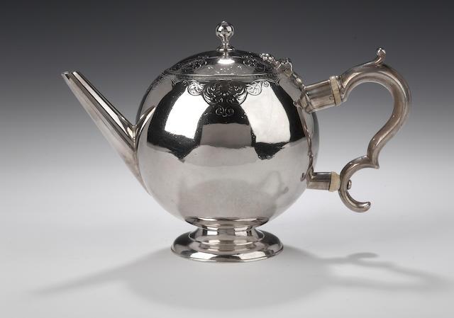 A George II Bullet Teapot By Harry Beathune, assay master of Edward Penman, Edinburgh 1725,