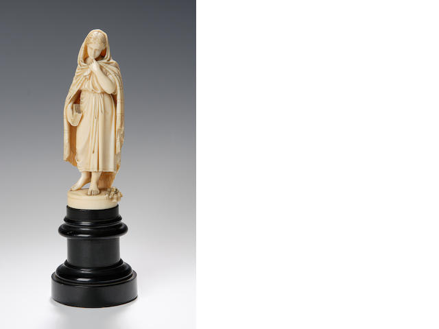 A 19th century carved ivory figure of a Highland lady possibly depicting Flora MacDonald,