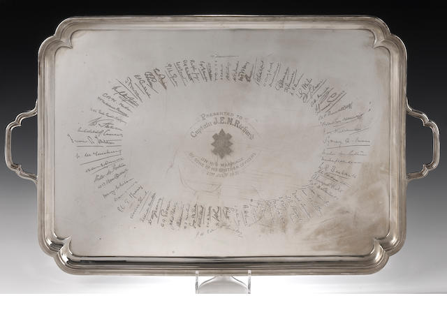 A twin-handled silver Tray  By Mackay & Chisholm, Edinburgh 1930,