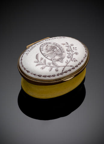 A South Stafford-shire white and yellow enamel Patch Box  Circa 1780,