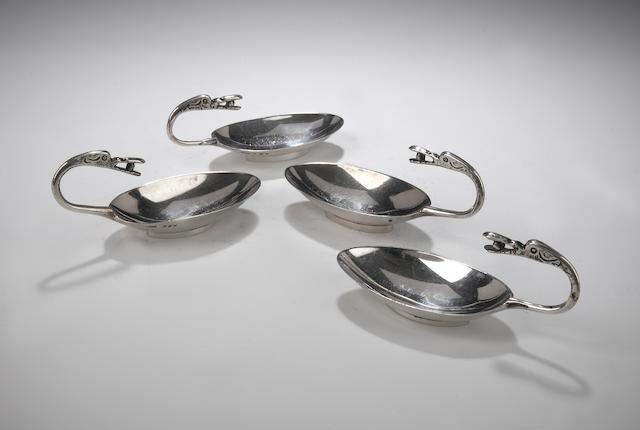 A set of four Traprain Treasure Salts By Brook & Son, Edinburgh, 1924-29,
