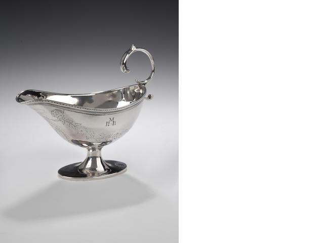 A George III oval Sauce Boat By Alexander Gardiner, Edinburgh, 1785,