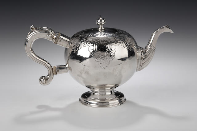 A George II bullet shaped Teapot By Edward Lothian, Edinburgh, 1742, with his mark also as assay master,