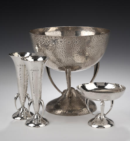 An Art Nouveau Bowl and pair of bon-bon dishes ensuite By Hamilton & Inches, Edinburgh 1905,
