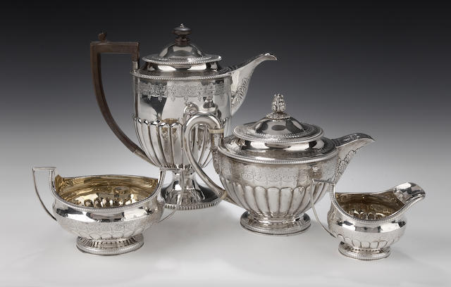 A silver Tea Service with matched Hot Water Pot By Robert Gray & Son, Edinburgh 1806 and 1810,