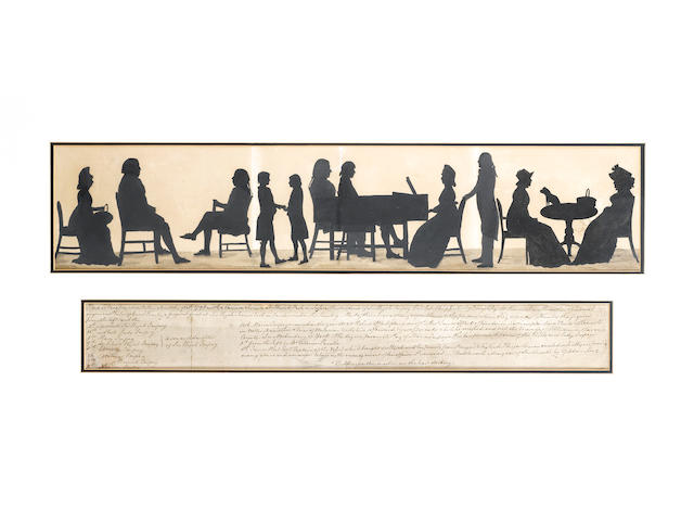 Tiberius Cavallo, A silhouette conversation piece of the Impey family of Newick Park, Sussex: Mary, seated holding a basket; Sir Elijah Impey (1732-1809), seated, facing Tiberius Cavallo; Edward and Hastings Impey facing each other; James West and Barwell Impey watching Marian Impey playing a grand piano with Archibald behind her; Maria and her mother Lady Impey, seated at a table on which stands a Pug