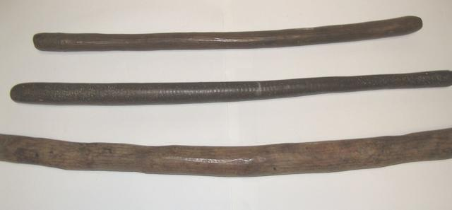 Three Australian Aborigine pole clubs Western Desert/Central Australian