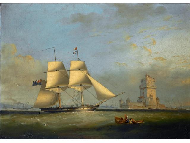Nicholas Matthew Condy (British, 1818-1851) 'H.M.B. Pantaloon' off Belem Castle' 33 x 45.7cm. (13 x