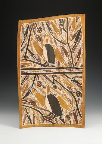 3 Australian bark paintings