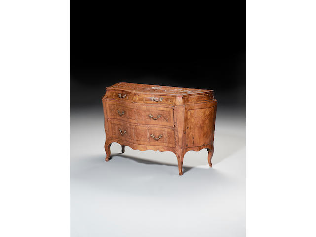 An 18th century Lombardy olivewood and walnut banded serpentine Commode