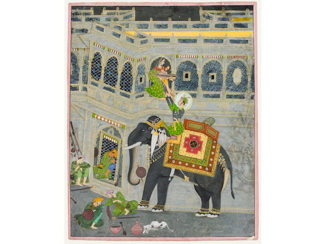 Krishna riding an Elephant Kashangarh, India early 19th Century