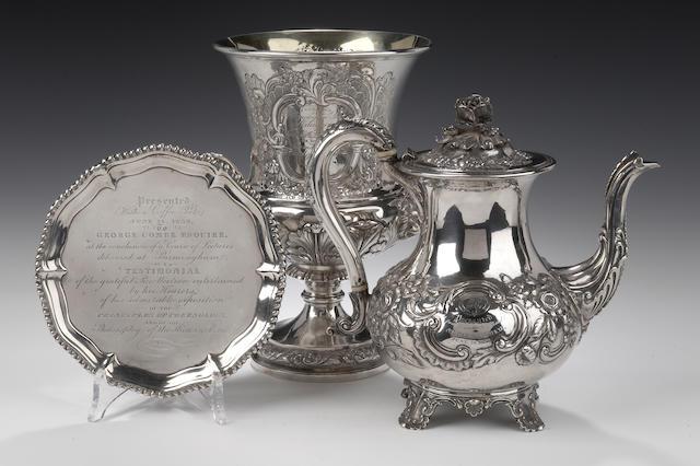 George Combe: A George IV two handled presentation cup By Alexander Edmonston Edinburgh 1822
