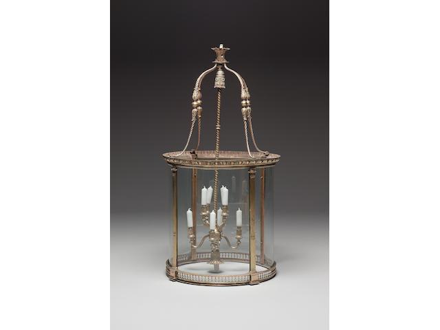 A large gilt brass hall lantern