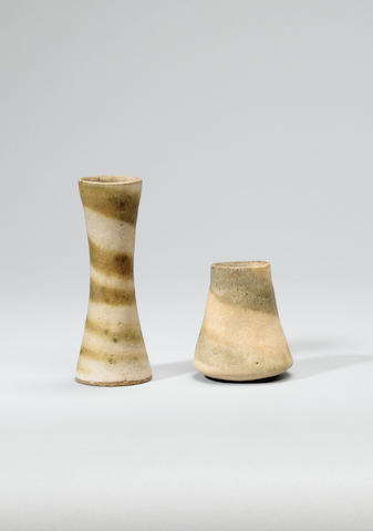 Dame Lucie Rie a small waisted Vase with integral spiral, circa 1965 Height 13.3cm (5 1/4in.)