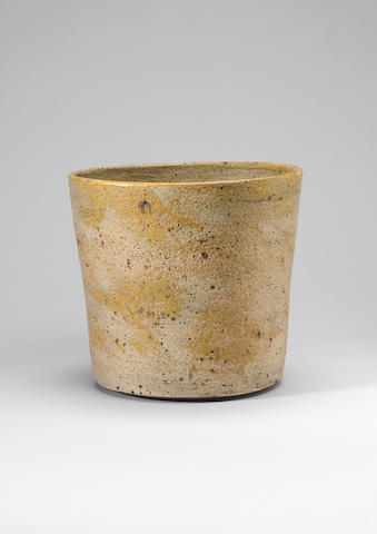 Lucie Rie, flower pot with green/amber pitted glaze (firing split to rim)
