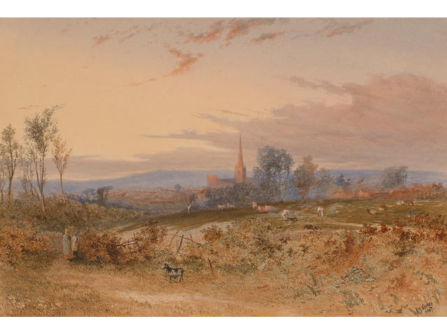 Edgar John Varley, Overlooking a cathedral town at twilight, signed and dated 1867, watercolour, 19 x 29cm.