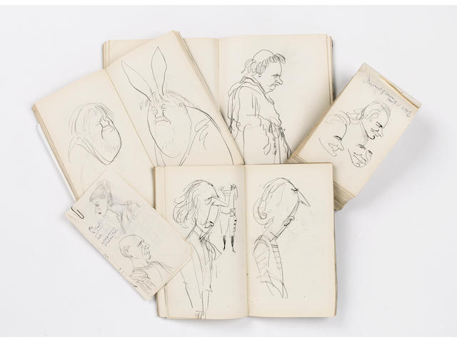 MANUSCRIPT SKETCHBOOKS - THEATRE A collection of four sketchbooks, containing sketches and caricatur