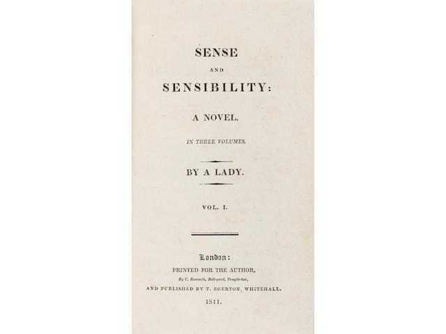 AUSTEN (JANE) Sense and Sensibility: a Novel, 3 vol.