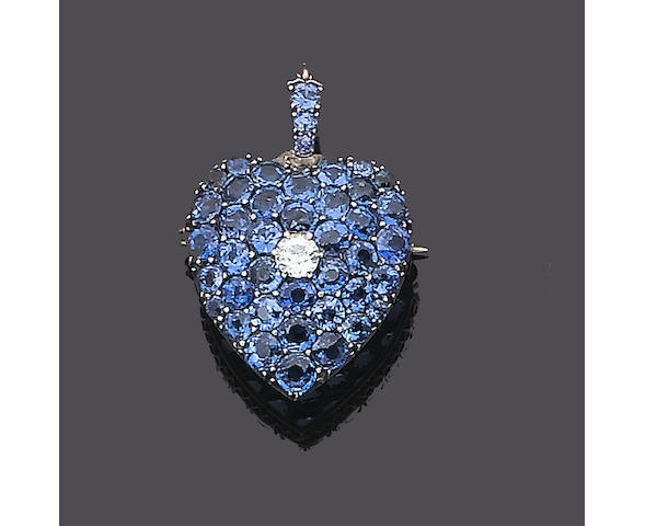 A sapphire and diamond heart-shaped brooch/pendant,