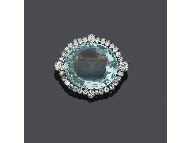 A late 19th century aquamarine and diamond brooch,