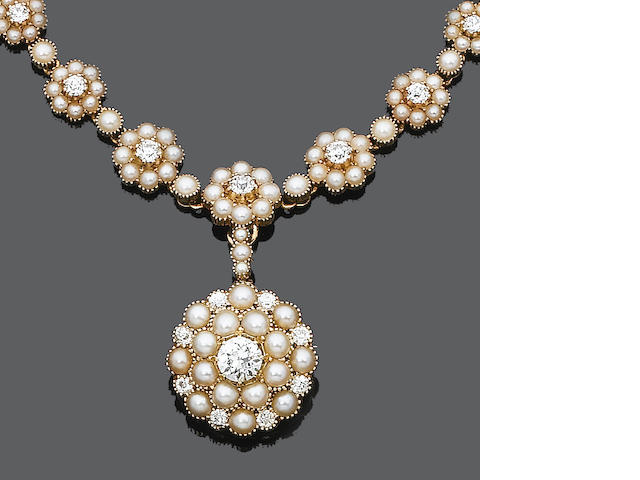 A late 19th century diamond and seed pearl necklace, brooch/pendant and bangle suite,