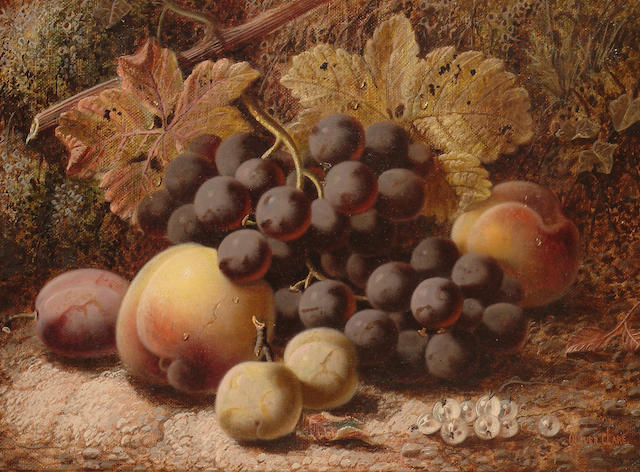 Oliver Clare (British, 1853-1927) A still life with grapes, peaches and a plums.