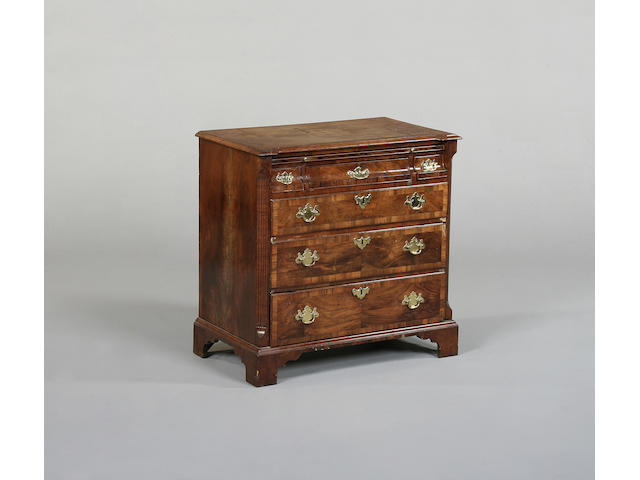 An early 18th century walnut chest of drawers
