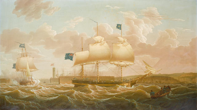 Robert Salmon (British, 1775-c.1845) A Privateer in two positions leaving Whitehaven harbour 71 x 127cm. (28 x 50in.)