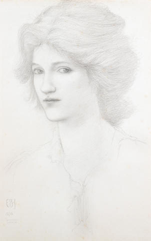 Sir Edward Coley Burne-Jones, Bt., ARA (British 1833-1898) Head study 47 x 30 cm. (18 1/2 x 11 3/4 i