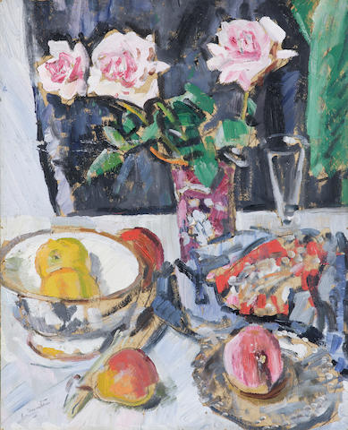 George Leslie Hunter (1877-1931) Still life of pink roses, fruit, glass and fabrics