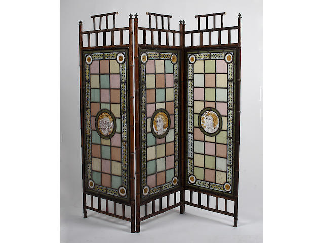 An Edwardian bamboo frame three panel screen